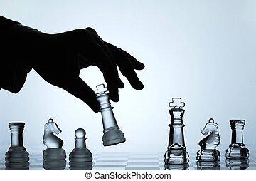 mouvement, ensemble, échecs, collection: