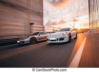 mouvement, entre, sport, vitesse, deux, voitures, tunnel
