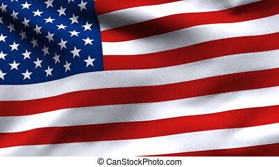 mouvement, etats, drapeau, lent, uni