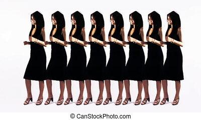 mouvement, femme, arrêt, danse