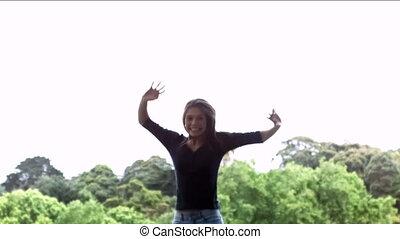 mouvement, femme, lent, sourire, sauter
