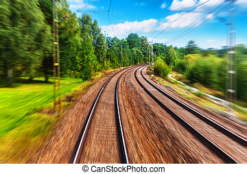 mouvement, ferroviaire, pistes, effet, barbouillage
