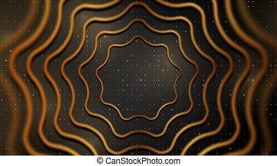 mouvement, fond, doré, cercle, résumé, technologie, noir, ondulé