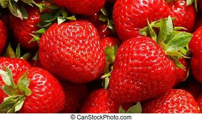 mouvement, fraises, vue, rotation., lent, sommet