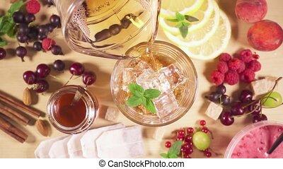 mouvement, froid, verre, glace, lent, thé, verse