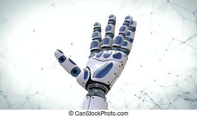 mouvement, futuriste, arm., main, fond, robotique, robot, 4k.