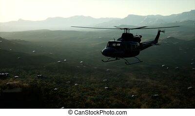 mouvement, hélicoptère, uni, vietnam, militaire, lent, etats