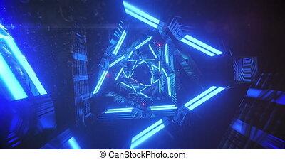 mouvement, incandescent, lumières, bleu, en mouvement, hypnotique, animation