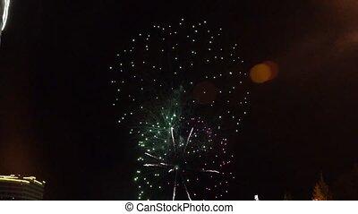 mouvement, indépendance, célébrer, sky., day., nouveau, contre, année, sombre, feux artifice, ou, lent