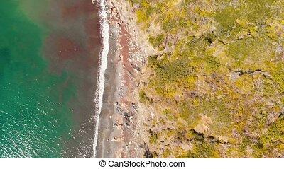 mouvement, island., plage, aérien, lent, vue, elba, ...