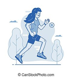 mouvement, joggling, femme