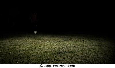 mouvement, joueur, balle, football, lent