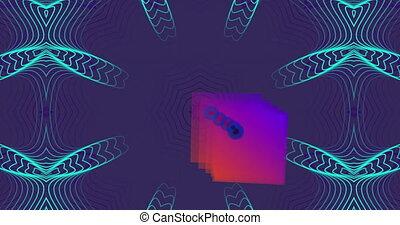 mouvement, kaléidoscopique, forme, en mouvement, carrée, contre, hypnotique, fond