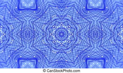 mouvement, kaléidoscopique, formes, numérique, en mouvement, bleu, contre, hypnotique, fond, animation