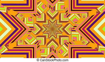 mouvement, kaléidoscopique, formes, numérique, en mouvement, dos, contre, multicolore, hypnotique, jaune, animation