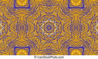 mouvement, kaléidoscopique, formes, numérique, en mouvement, pourpre, contre, hypnotique, jaune, arrière-plan animation