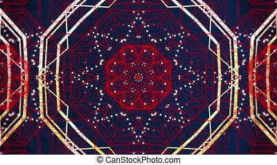 mouvement, kaléidoscopique, rouges, formes, numérique, en mouvement, bleu, contre, hypnotique, fond, animation
