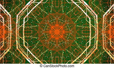 mouvement, kaléidoscopique, rouges, formes, numérique, en mouvement, contre, vert, hypnotique, fond, animation