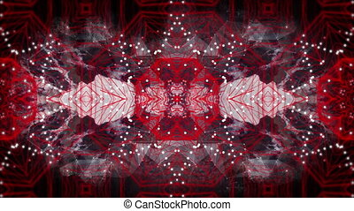mouvement, kaléidoscopique, rouges, formes, numérique, en mouvement, noir, contre, hypnotique, fond, animation
