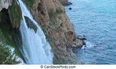 mouvement, lent, aérien, chute eau, vue