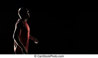 mouvement, lent, balle, régler, footballeur