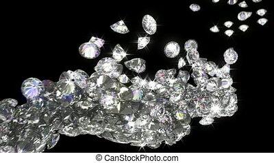mouvement, lent, couler, loopable, diamants