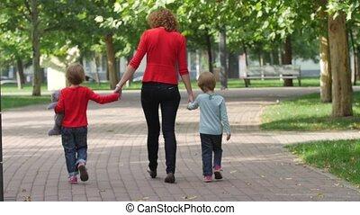 mouvement, lent, ensemble., mère, enfant