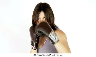 mouvement, lent, femme, boxe