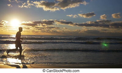 mouvement, lent, irrigation, eau courante, rivage, plage, sablonneux, homme
