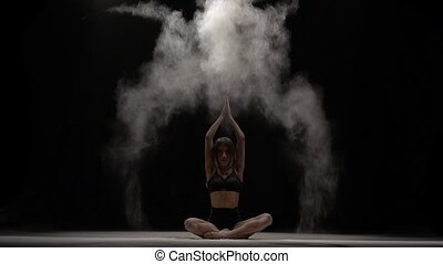 mouvement, lent, lancement, air., particules, habile, danseur, poussière