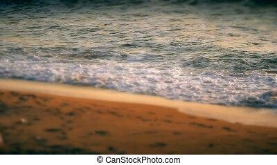 mouvement, lent, plage, vague
