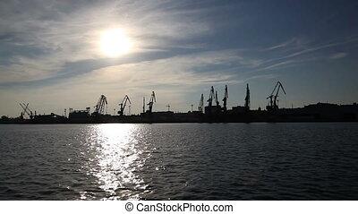 mouvement, lent, port maritime