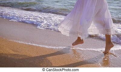 mouvement, lent, ressac, filles, pieds, courant