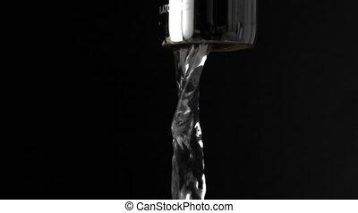 mouvement, lent, robinet, macro, contre, eau, courant, arrière-plan noir, coup