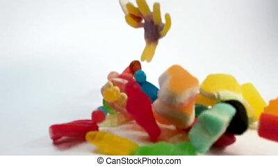 mouvement, lent, tomber, gelée, bonbons