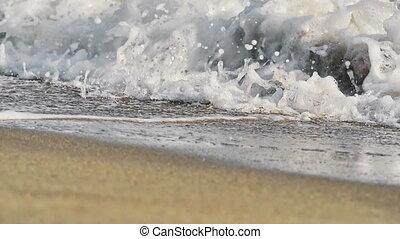 mouvement, lent, vague, macro, plage