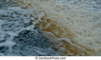 mouvement, lent, vue, chute eau, au-dessus