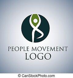 mouvement, logo, gens, 8