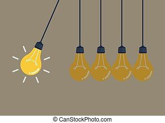 mouvement, lumière, perpétuel, ampoules