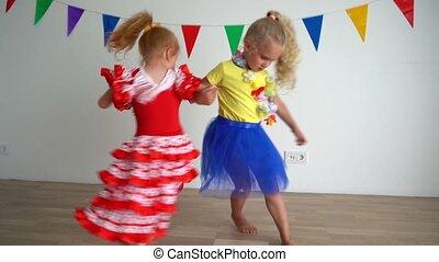 mouvement, mains, hyperactive, vilain, children., filles, ...