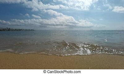 mouvement, marée, sur, venir, lent, plage, métrage