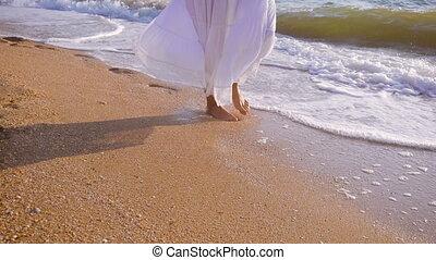 mouvement, marche, lent, ressac, filles, pieds