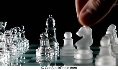 mouvement, noir, knight's, fond, échecs