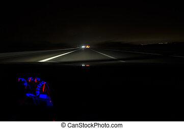 mouvement, nuit, barbouillage, conduite, route