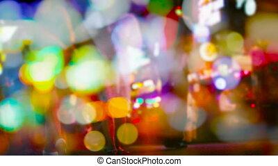 mouvement, nuit, -, foule, brouillé