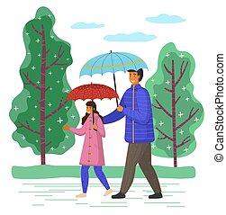mouvement, octobre, dépenser, rue, jour pluvieux, grand, ...