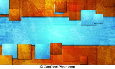 mouvement, orange, clair, cyan, grunge, carrés, fond