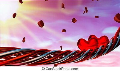 mouvement, pétales, arrière-plan rouge, cœurs