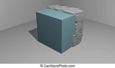 mouvement, particule, spatial, bleu, gris, animation, cube, ...