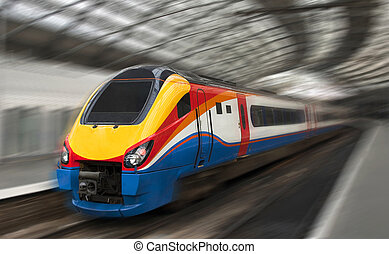 mouvement, passager,  train, jeûne, barbouillage